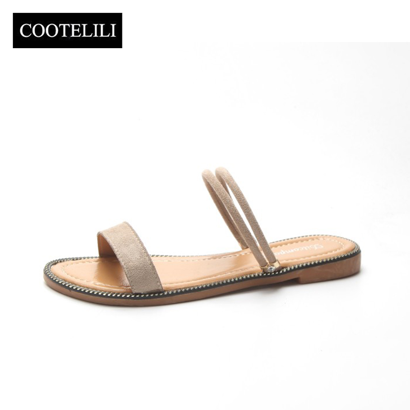COOTELILI Summer Slippers Women Beach Shoes Woman Slides Flat Heels Slip on Sandals Female Beige Black Dropshipping фильтр для воды гейзер бастион 121 3 4 для горячей воды d60 32669