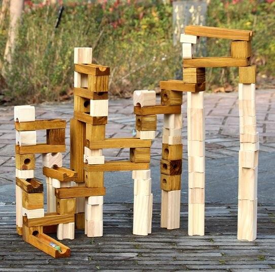 105 pièces piste épissage blocs de construction jouet puzzle assemblage tunnel jouet en bois éducation précoce blocs de construction jeu de balle