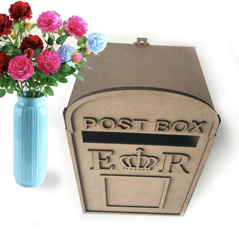 Wooden DIY Wedding Crown Post Box Royal Mail Styled Card Letter Gift Message Storage Vintage Decorations