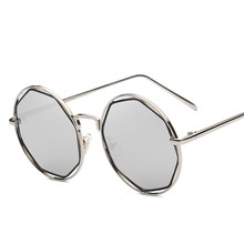 Vintage Polygon Sunglasses Women Round Alloy Frame Sun Glasses Oculos Fashion Eyewear Coating Goggles Womens Sunglasses YJ44