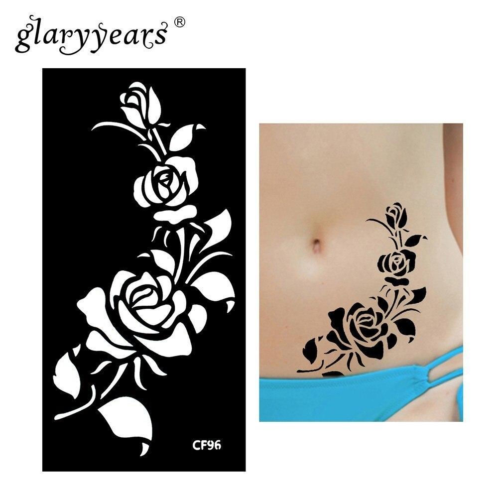 Glaryyears 1 Sheet Henna Tattoo Stencil Pattern Paste Drawing Female Body Art Tattoo Stencil Sexy Product Waterproof Hot HN-CF96