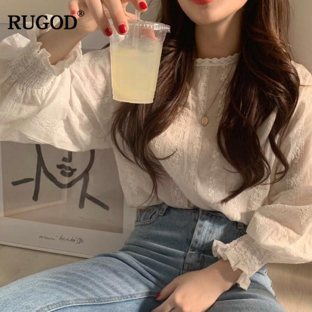RUGOD Elegant women blouses lantern sleeves o neck lace white floral print vintage casual sweet korean style femme tops modis