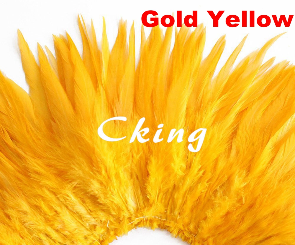 Cking Factory 6 8 Pretty Party Costume Decoration Colored Gold Yellow Rooster Saddle Feathers Strungs strips