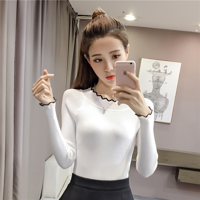 Pengpious 2018 spring autumn women long sleeve slim elegant knitted pullovers stretched knitwear office lady fashion sweaters