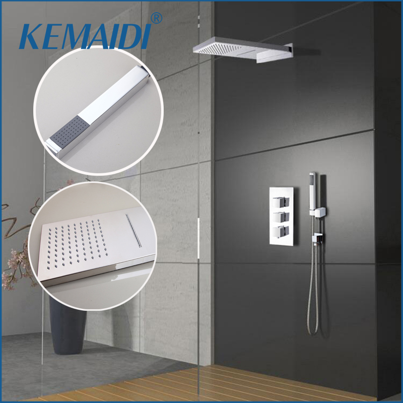 KEMAIDI Luxury Wall Mounted Square Style Brass Waterfall Shower Set New Bathroom Shower With Handle Rainfall Shower Head
