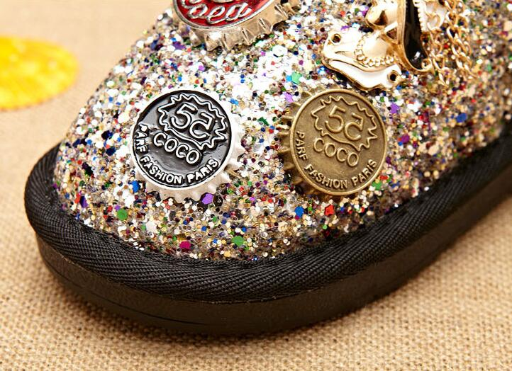 Image 3 - Size 26 37 Fashion Metal Decoration Children Winter Boots Thick Warm Fur Kids Snow Boots Girls Shiny Sequined Boots-in Boots from Mother & Kids
