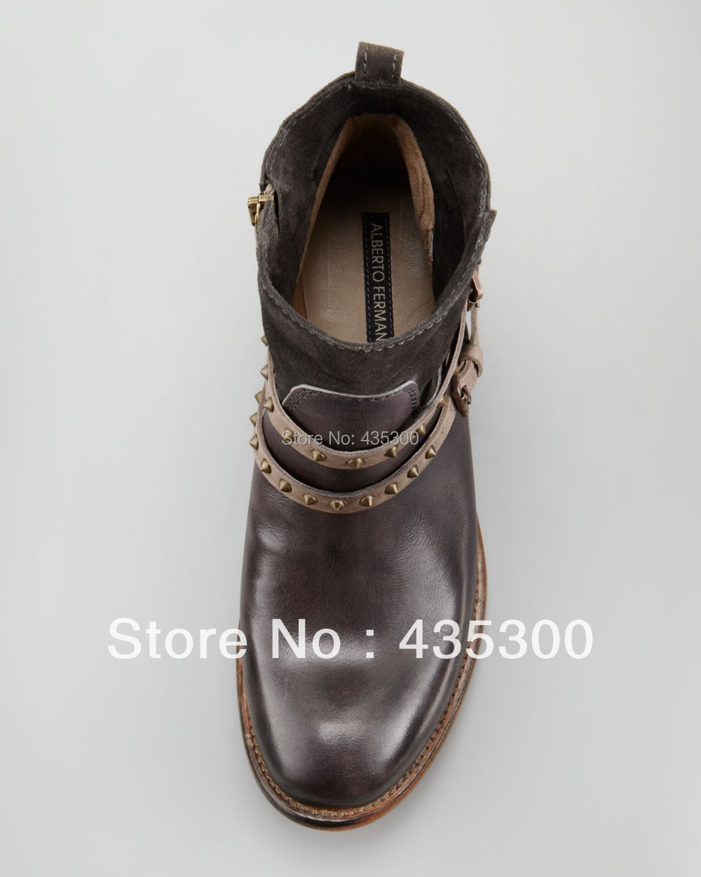 cb25b233f07 Wholesale Women's Short Boots Ankle Boots Alberto Fermani Emma Stud Strap  Flat Boot, Anthracite Real Cowhide Leather Booties-in Ankle Boots from  Shoes on ...