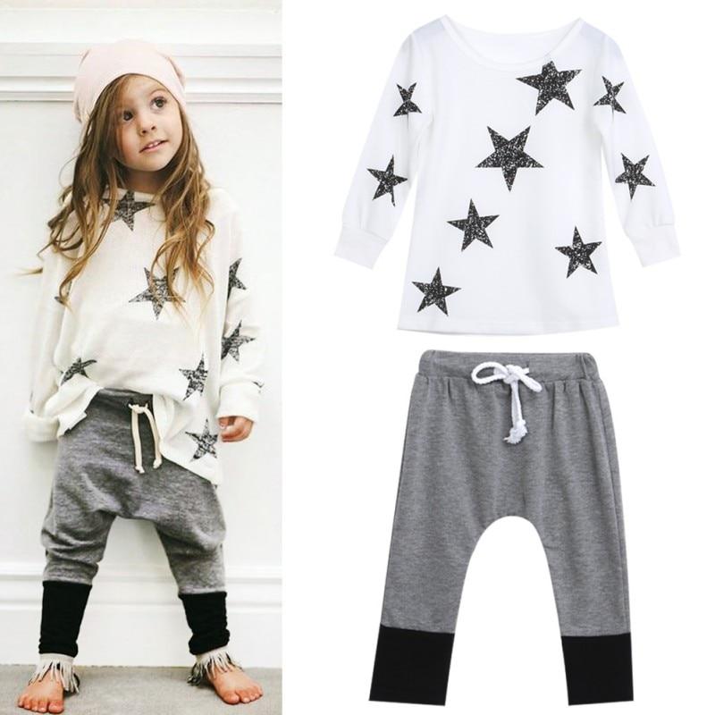 Toddler Cute Kids Girls Outfit Clothes Star Long Sleeve T-shirt +Long Pants Set