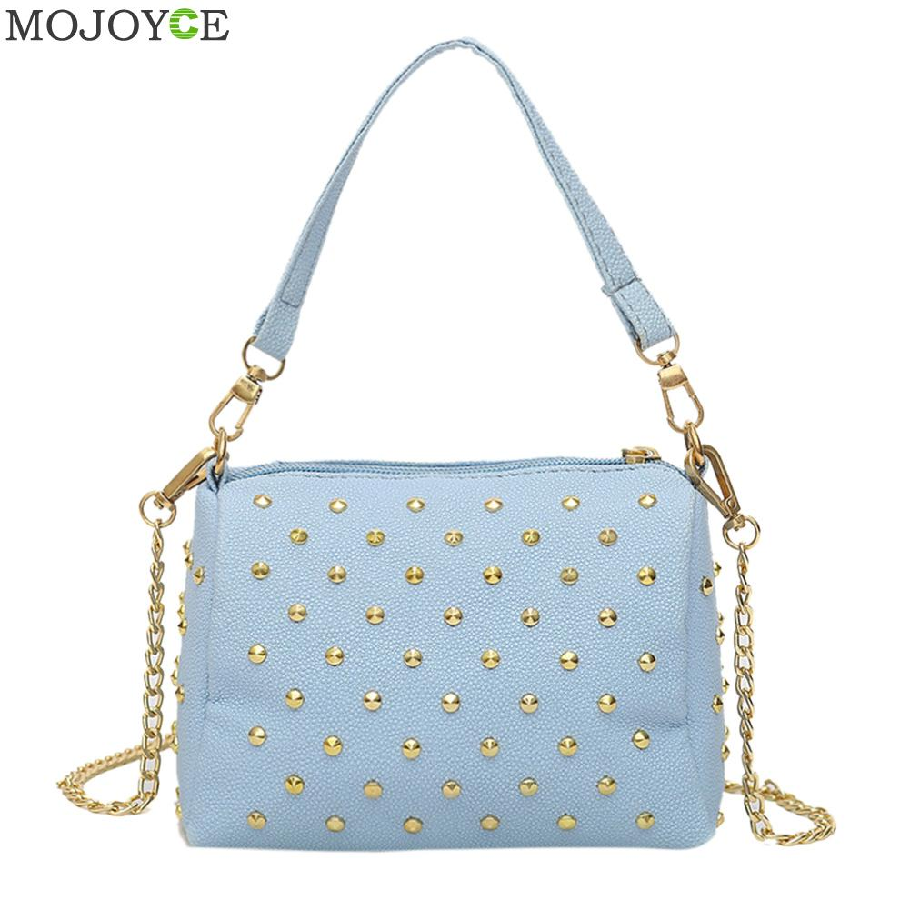 Fashion Women Messenger Bags Women Leather Handbags Mini PU Rivet Shoulder Crossbody Bag Chain Bag Clutch Bolsa Feminina glitter sequins women pu chain handbags messenger crossbody bags party shoulder sling bags fashion girls shinning clutch bags