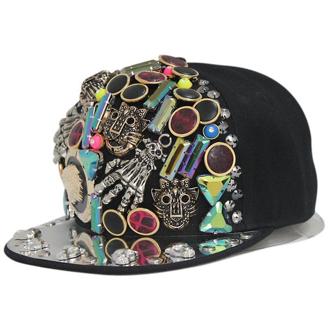 BooLawDee garras rebites do punk cap hiphop ajustável com a magia de costura plana boné de beisebol viseira 56-60 cm 4N004
