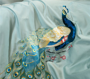 Image 4 - 60S Egyptian cotton oriental embroidery luxury Bedding set peacock pattern queen king size 4/6pcs duvet cover bedsheet pillow