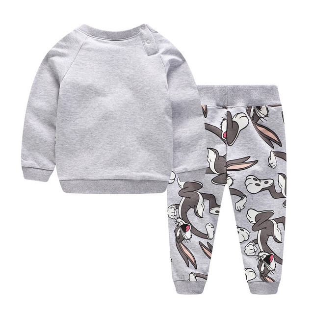 Children Winter Clothes Baby Boys Cartoon Clothing Sets Cute Rabbit Printed Warm Sweatsets for Baby Boys Girls Kids Clothes 2