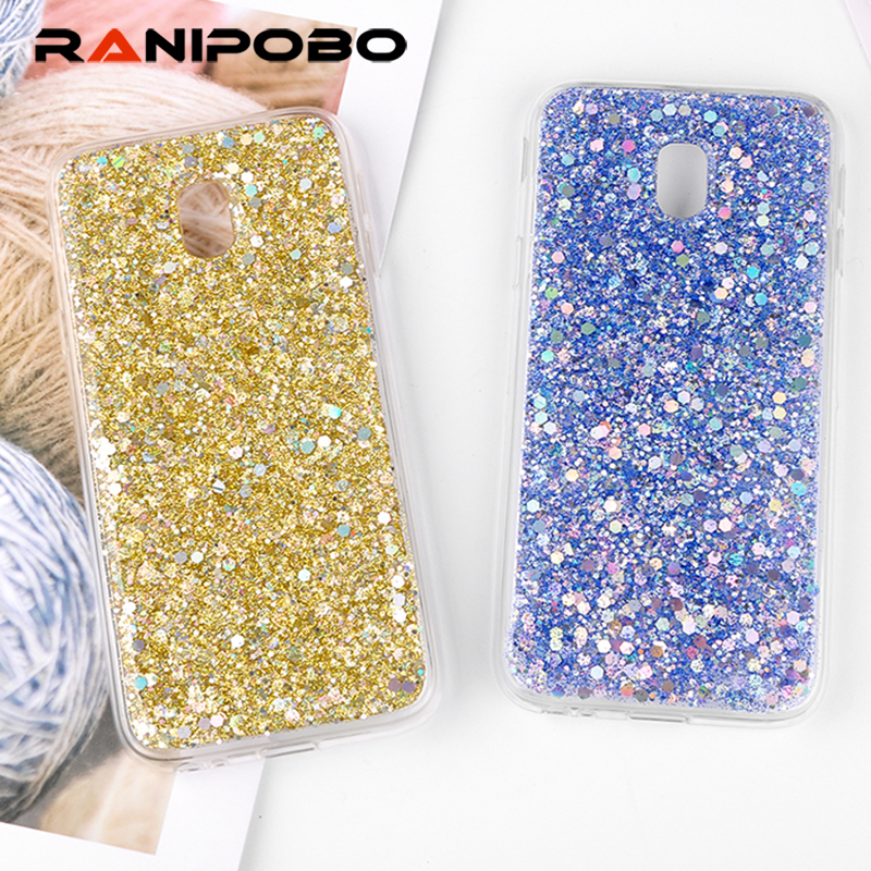 Galleria fotografica luxury Shinning Glitter Powder Soft Covers For Samsung Galaxy J3 2017 J330 Love Heart Phone Capa Fundas For Samsung J3 2017 Case