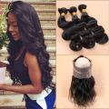 Pre Plucked 360 Lace Frontal With Bundle 3 Pcs Peruvian Body Wave Slove Natural Hair Line 360 Lace Frontal With Bundles