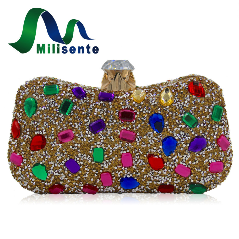 Milisente Women Luxury Multicolored Rhinestones Clutch Bag Purse Diamond Hasp Style Cocktail Stone Evening Bags For