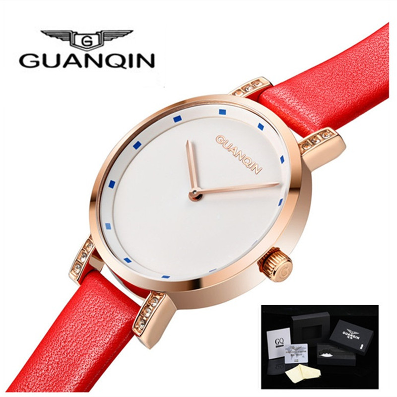 GUANQIN Watches Women Fashion Luxury Brand Famous Quartz Watch Leather Ladies Rhinestones Dress Analog Wristwatches Female Clock kimio women quartz watches leather dress watch fashion design ladies wristwatches 2017 luxury brand female gift clock kw518