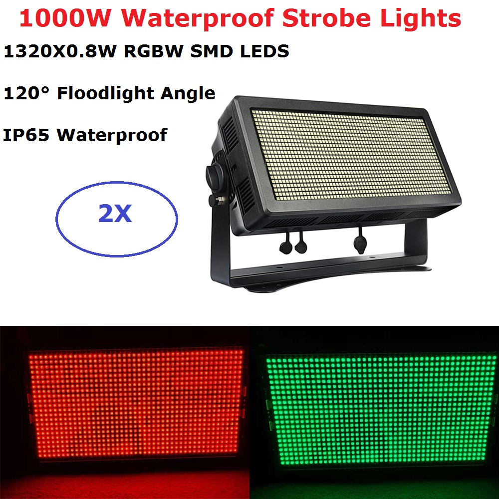 2XLot LED Floodlight Lights Powerful <font><b>1000W</b></font> RGBW <font><b>Quad</b></font> Color LED Strobe Lights DMX Flash Lights IP65 Waterproof Wash Effect Light image