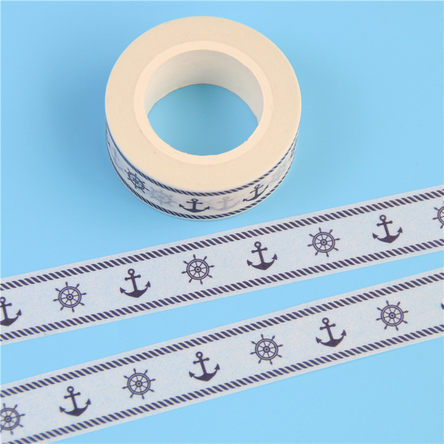 2 Pcs/Pack Rudder & Anchor Sailor Decor Patterned Diy Japanese Washi Tape Scrapbooking Decorative Masking Tape