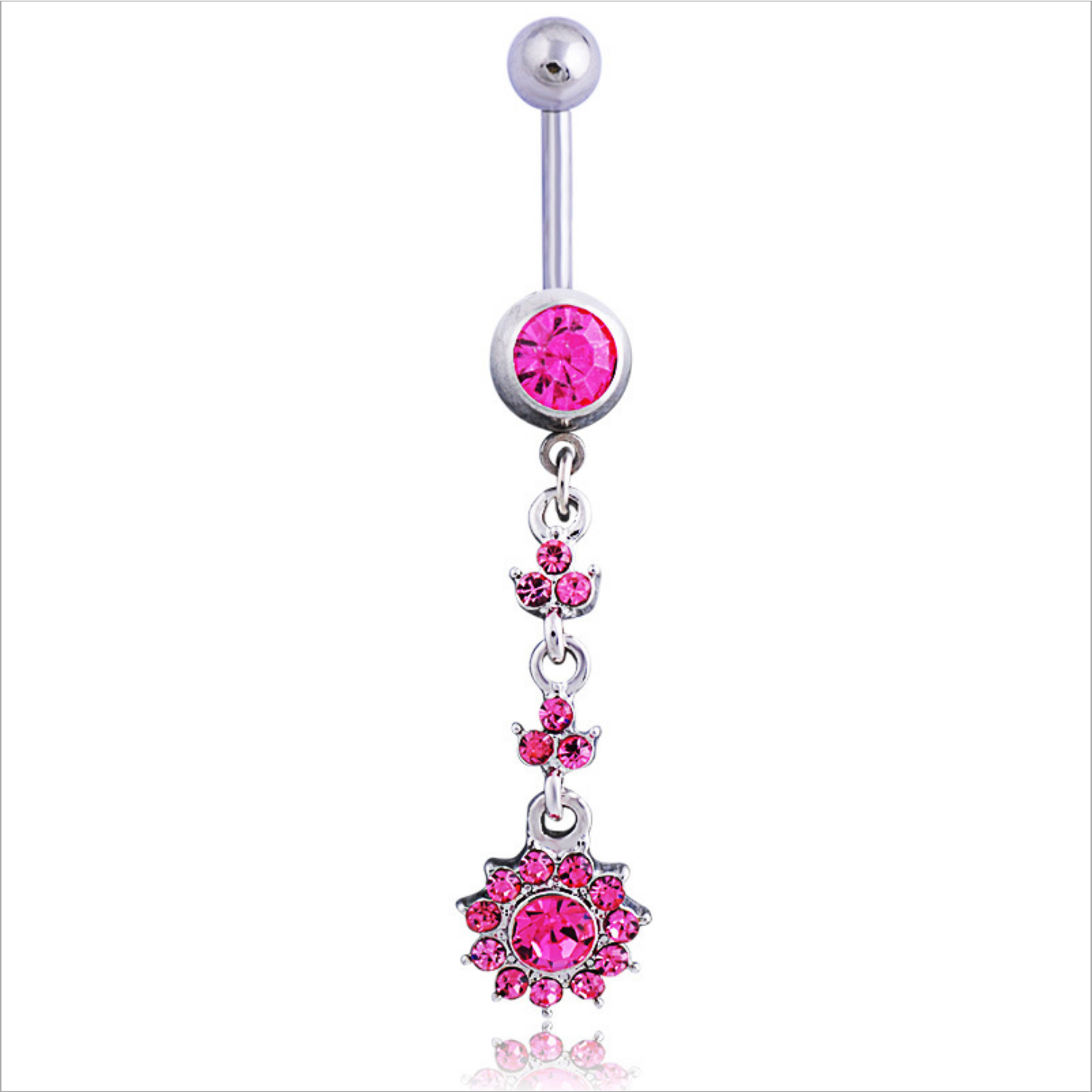 Belly Button Rings Flower Navel Bar Ring Barbell Body Piercing Jewelly