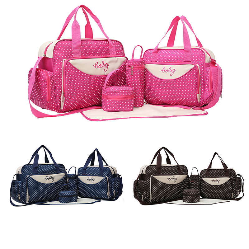 5pcs/set Infant Baby Diaper Bags Handbag Mother Stroller Maternity Bag Mummy Nappy Bags Sets Mom Baby Bottle Holder Nurse Bag