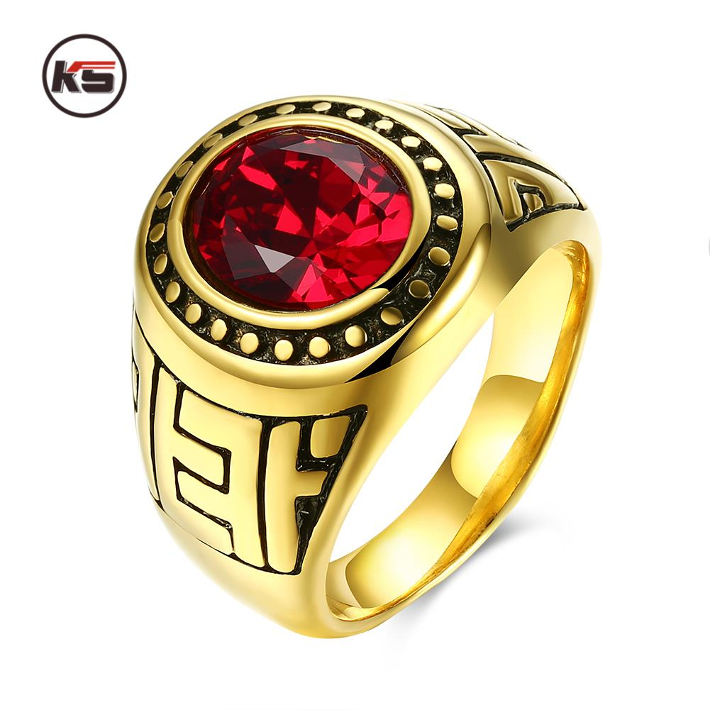 fashion secret air force mens military rings stainless steel ip gold color main stone environmental material - Military Wedding Rings