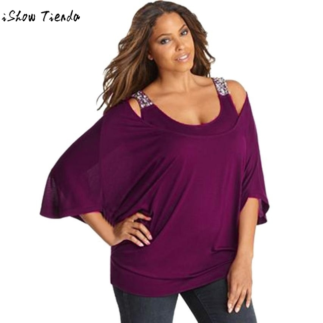 9a99f4f3a75 Women 3 4 Sleeve Solid Plus Loose Off-Shoulder Bling Shirts Tops Blouse  plus size women clothing blusas femininas ropa mujer