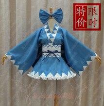 Envío Libre Touhou Project Cirno Cosplay Kimono Bowknot Disfraces para Halloween