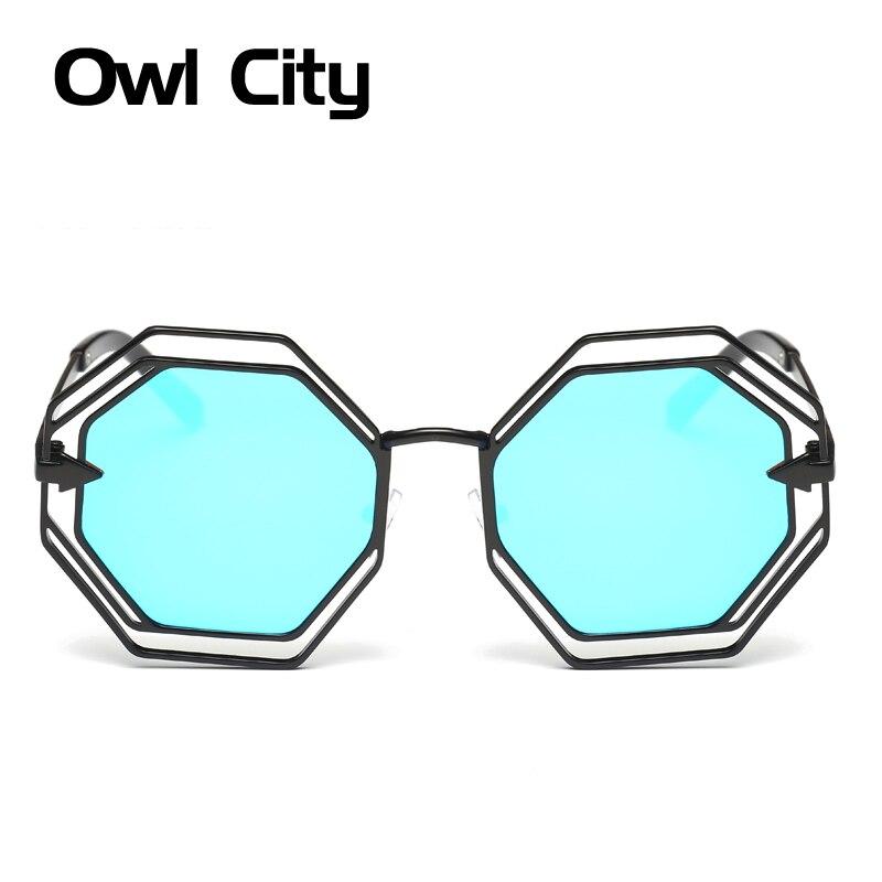 Sluneční brýle Dámské luxusní značky Designer Slitina rámu Elegantní Šestihranná dutina Mužská samice Sunglass UV400