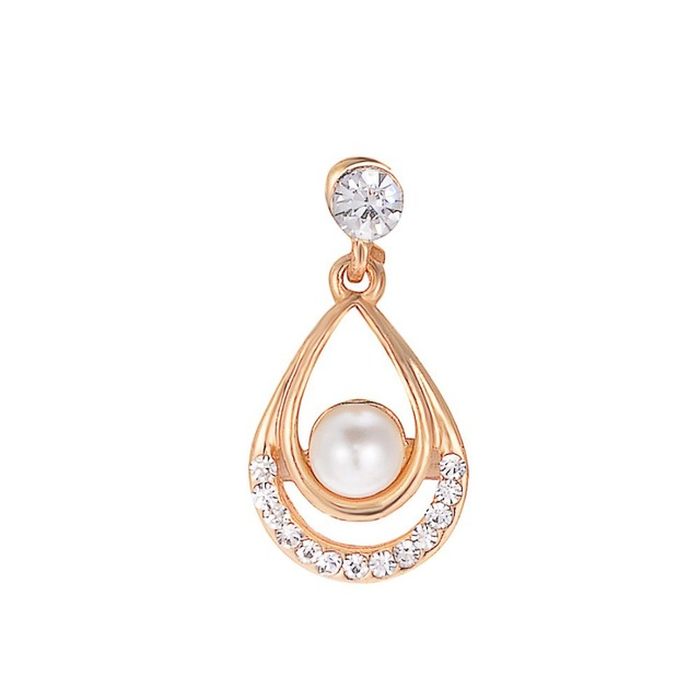 Valentine Day Gifts Gold Color Simulated Pearl Water Drop Crystal Pendant Necklace Earrings Wedding Jewelry Sets For Women 4