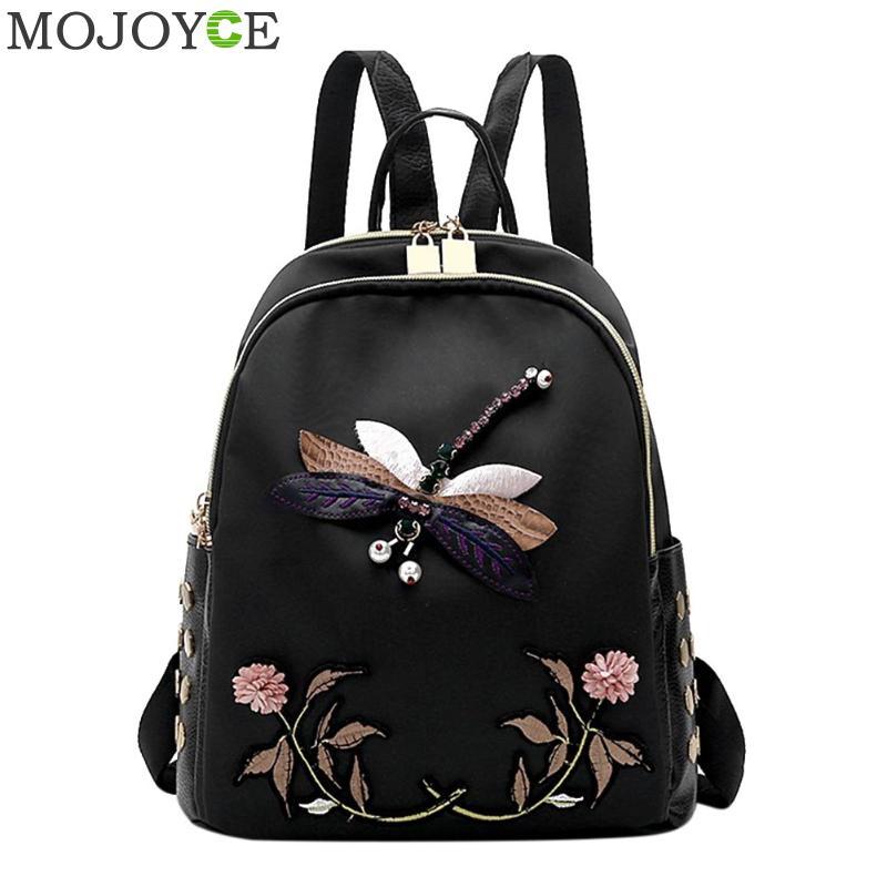 Dragonfly Flowers Embroideries Backpack Fall Oxford Cloth Backpack Girls Black Backpack Soft Women Shoulder Bag Bolsa Mochila