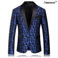 MAUCHLEY Casamento Smoking Blazer Alta Qualidade Elegante Royal Blue Lips Mens florais Ternos Jacket Custom Made Plus Size 3XL 4XL 2017