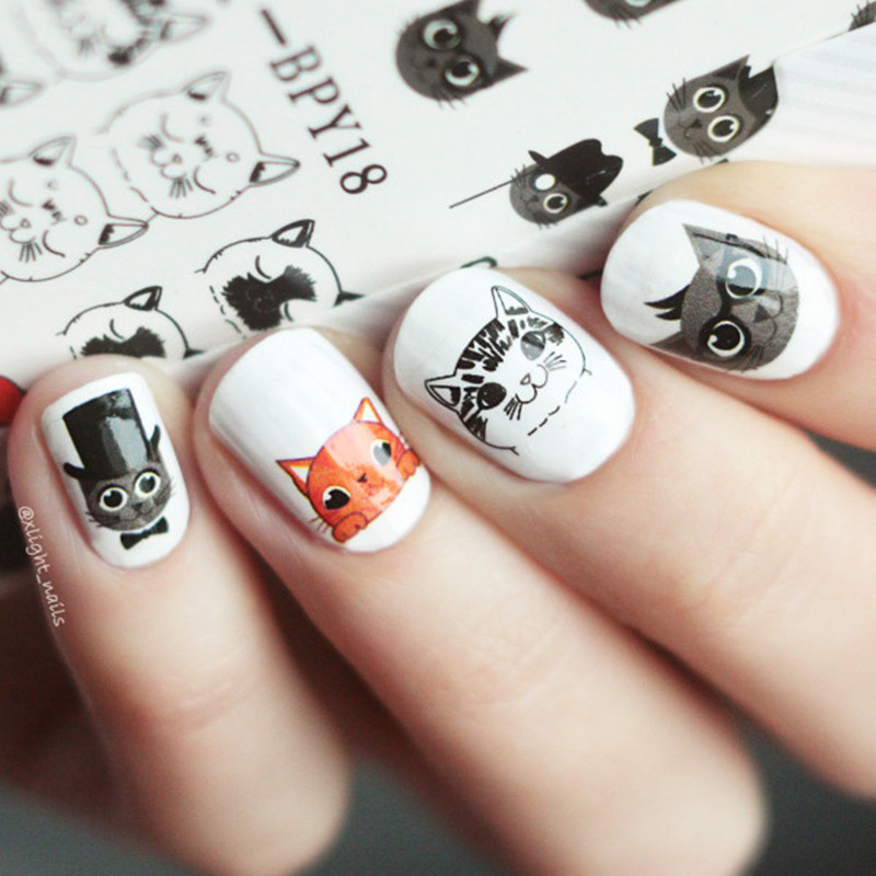 BORN PRETTY 2 Patterns/Sheet Cute Cat Nail Art Water Decals Transfer Sticker Manicure BPY18 born pretty 1 sheet letter nail art water decals geometric figure nail manicure transfer stickers ds306