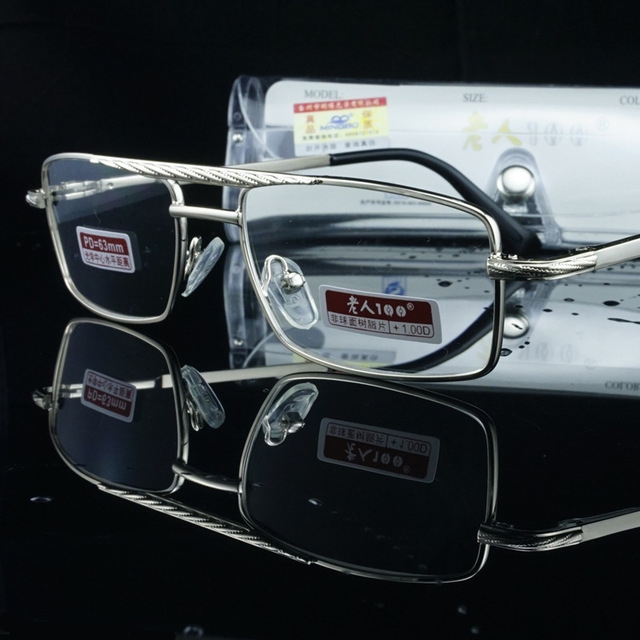 Glass Lens Mens Reading Glasses For Men Reader Presbyopic Eyeglasses 1.0 1.5 Flat Top Slim Eyewear Read Eyeglass PD 63mm 2.0 2.5