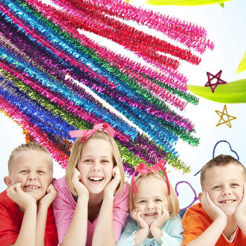 1000 PCS Assorted Glitter Metallic Chenille Stems Plush Sticks Pipe Cleaners Kindergarden Kids Education Toys DIY Craft 0070202-in Party DIY Decorations from Home & Garden    1
