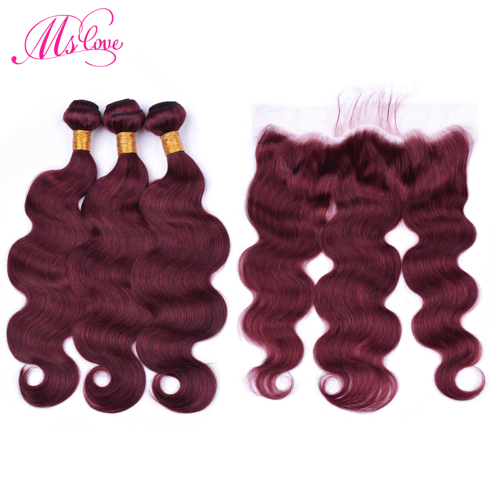 Ms Love Hair Burgundy Body Wave Human Hair Bundles With Lace Frontal Closure 13 4 Remy