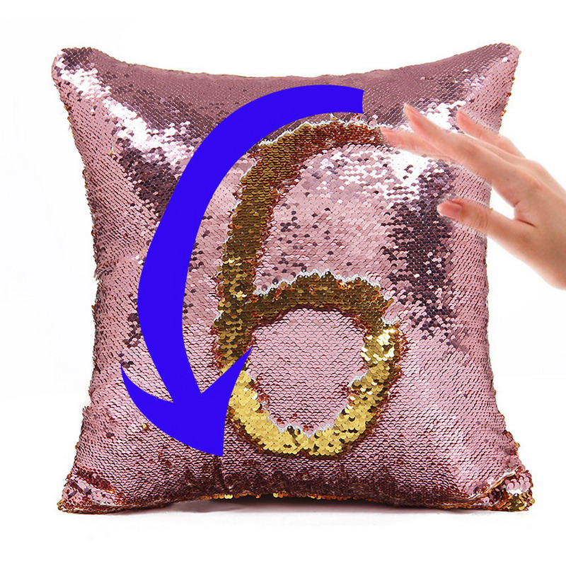 Factory selling Mermaid two tone sequins throw pillow covers continental mermaid decorative cushion cases sofa car DIY case