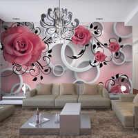 Fondo fotográfico 3D estéreo flor en relieve círculo moderno Mural Simple comedor Sala sofá telón De fondo como De TV Papel De pared