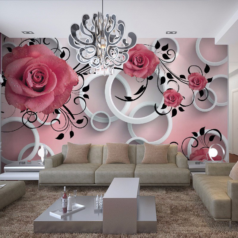 Photo Wallpaper 3D Stereo Relief Flower Circle Modern Simple Mural Dining Room Living Room Sofa TV Backdrop Wall Papel De Parede book knowledge power channel creative 3d large mural wallpaper 3d bedroom living room tv backdrop painting wallpaper