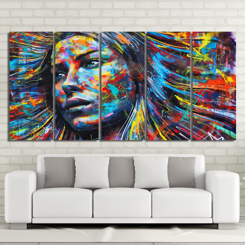 5 Piece Canvas Art colorful hair figure woman face painting Free Shipping CU 2010C
