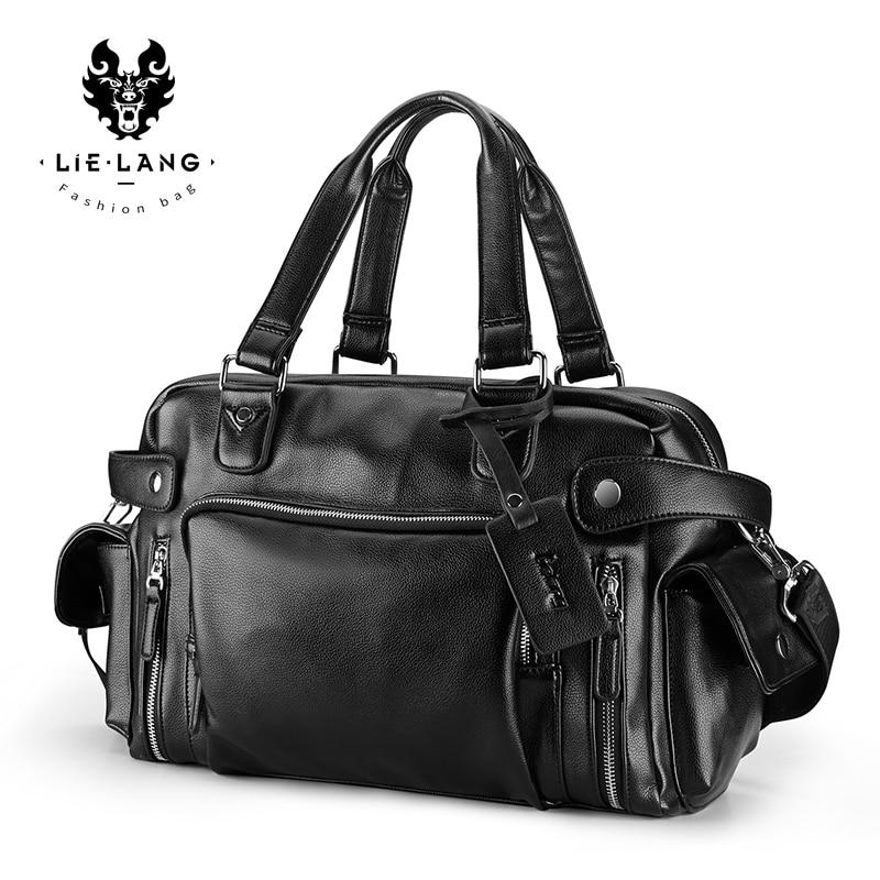LIELANG Travel Bag Mens Handbag Big Capacity Travel Bag High Quality PU Leather Luggage Bag Men Bags Laptop Shoulder Bag