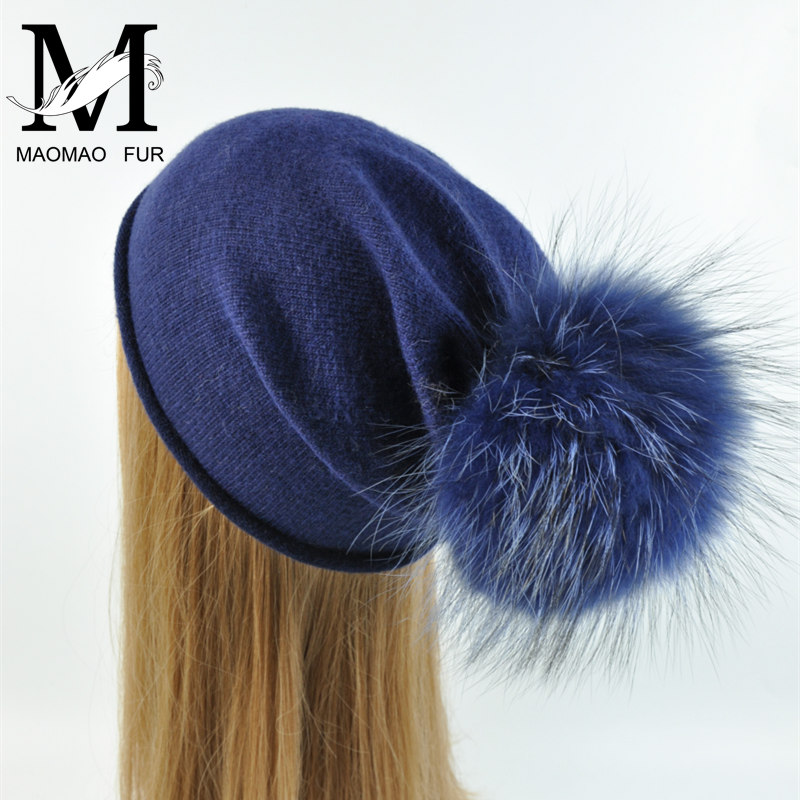 Female Wool Knitted Hat High Quality Vogue Warm Casual Skullies Beanies Real Large Raccoon Dog Fur Pom Pom Spring Autumn Hats