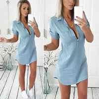 KANCOOLD dress new high quality fashion Summer Short Sleeve Solid Denim Dress Turn Down Collar Mini dress women ap25