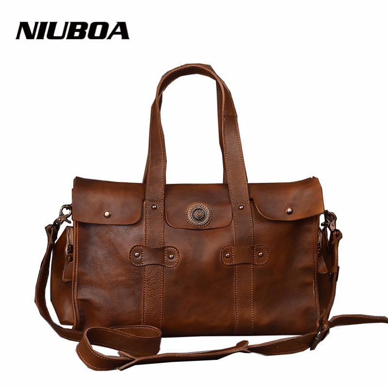 NIUBOA Vintage Genuine Leather Travel Bag Men Soft Real Leather Duffel Bag Luggage Travel Bag Business Duffle Bags Weekend Tote