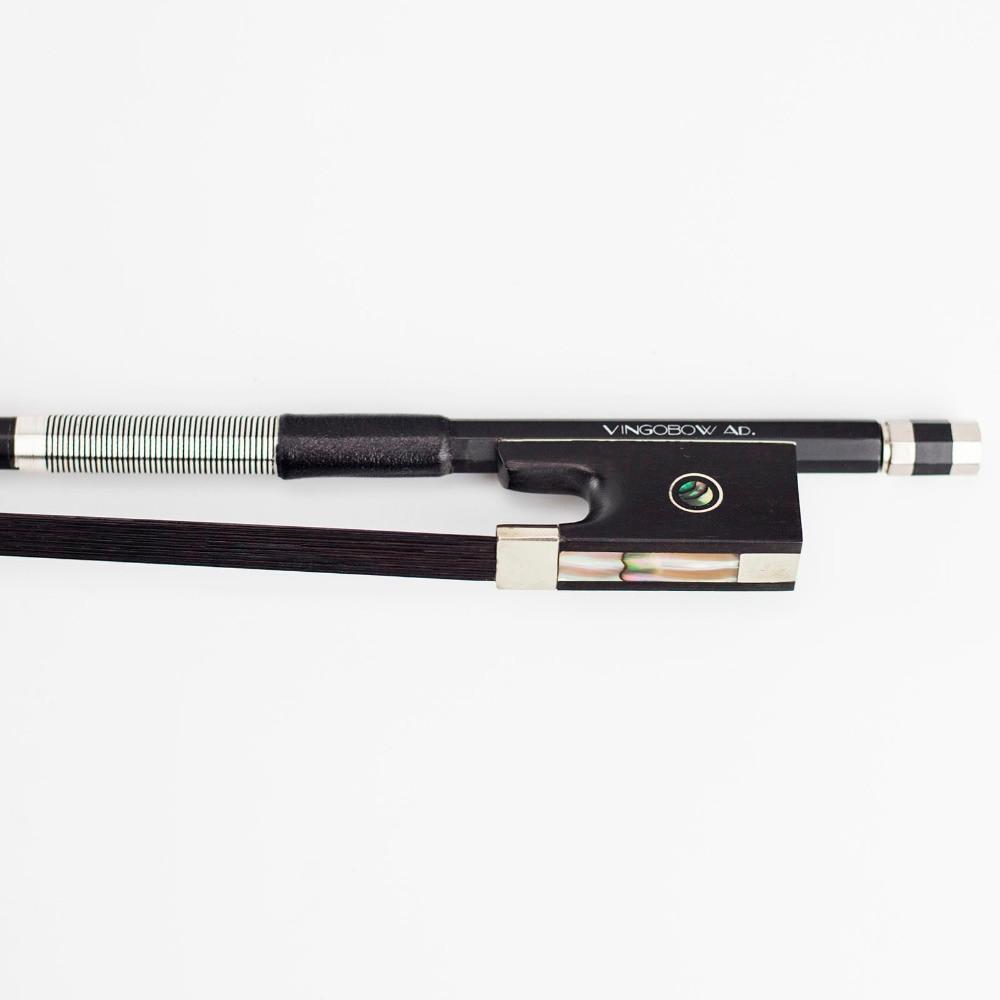 VingoBow 1/2 Tamaño de fibra de carbono Arco de violín Pernambuco Rendimiento Tono salvaje Caballo negro para jugador de alto nivel 100VB
