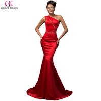 Grace Karin Sexy Mermaid Evening Dress 2017 One Shoulder Satin Red Evening Long Dress Party Mermaid Prom Gowns Formal Dress 7569