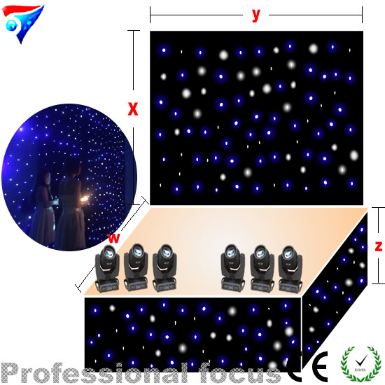 led light starry sky lighting fiber optic led star curtain 5mX12m