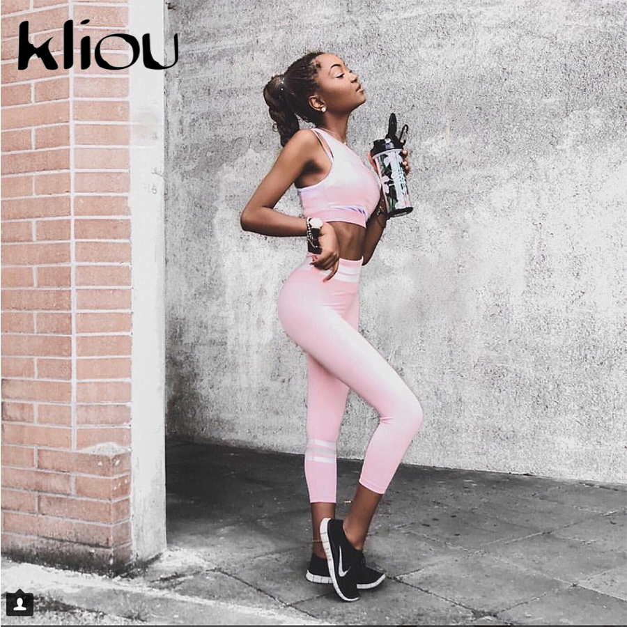 Kliou 2018 Women Two Pieces Suit Pink Patchwork Sporting White Striped Tops Fitness Elastic Slim Leggings Tracksuit 2 Piece Set 1