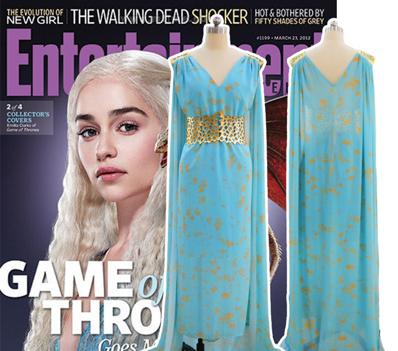 2018 Game of Thrones Cosplay Daenerys Targaryen Wedding Dress Costume Halloween Party Long Blue Dress Cospaly Costumes for Women in Movie TV costumes from Novelty Special Use