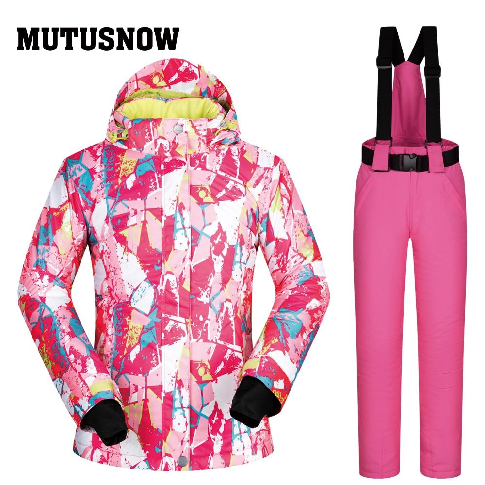 Fashion Style Mutusnow Women Ski Suit Skiing Snowboard Jacket Pant Super Warm Hooded Winter Clothing Trouser Windproof Waterproof Coat Pant Skiing Jackets