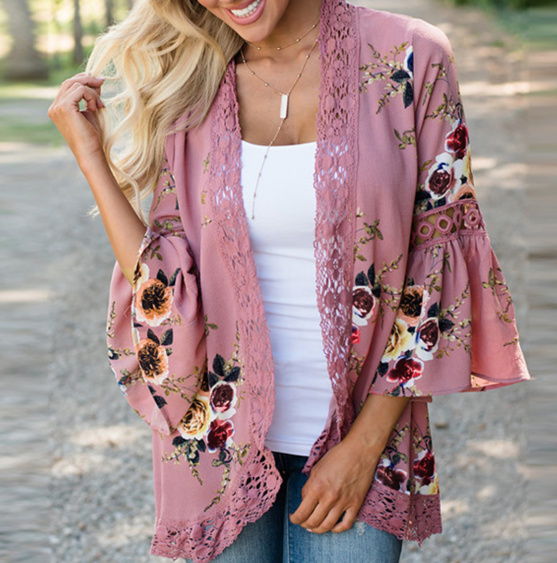 Chiffin Lace-Up Woman Coat Print Floral Ruffle Hollow Out Cardigan Long-Sleeve Casual   Basic     Jackets   For Women's 2017 Autumn LF92